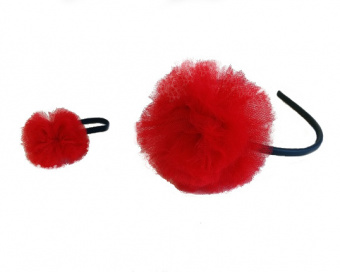 NAVY HAIR ACCESSORIES WITH RED POMPOM