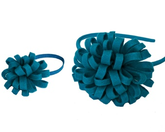 HAIR ACCESSORIES WITH TURQUOISE FELT POM POM