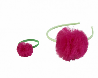 GREEN HAIR ACCESSORIES WITH AMARANTH POM POM