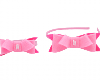 HAIR ACCESSORIES -  WITH PINK FELT BOW