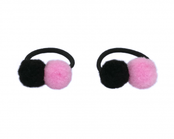 HAIR TIE - PINK AND BLACK POMPOMS