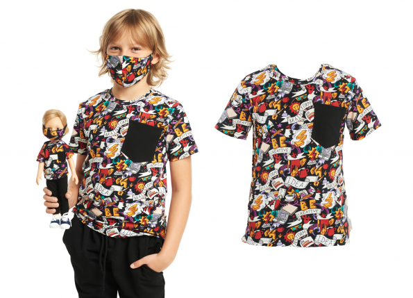 T-SHIRT  COMICS + MASK FOR KID AND DOLL